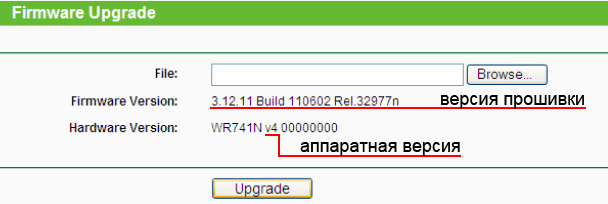 Версия прошивки и аппаратная версия роутера TP-Link