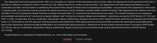 Текс лицензионного соглашения UniFi