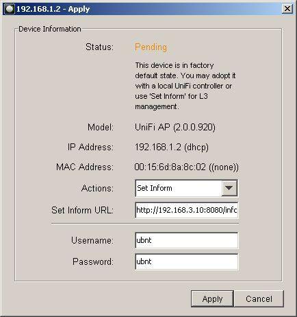 Задание IP адреса контроллера UniFi вручную