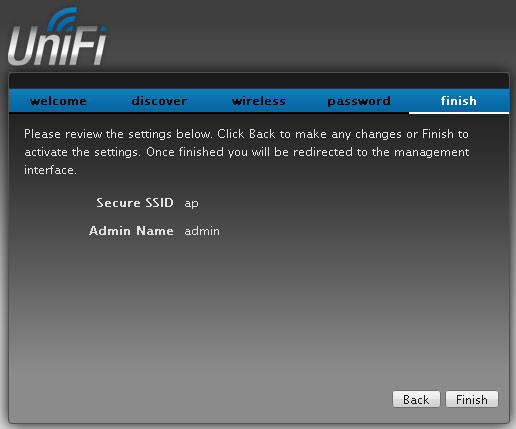 Завершение установки контроллера UniFi