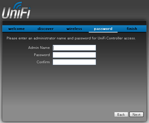 Настройка пароля администратора UniFi