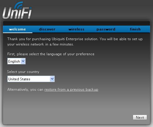 Выбор языки и страны в контроллере UniFi