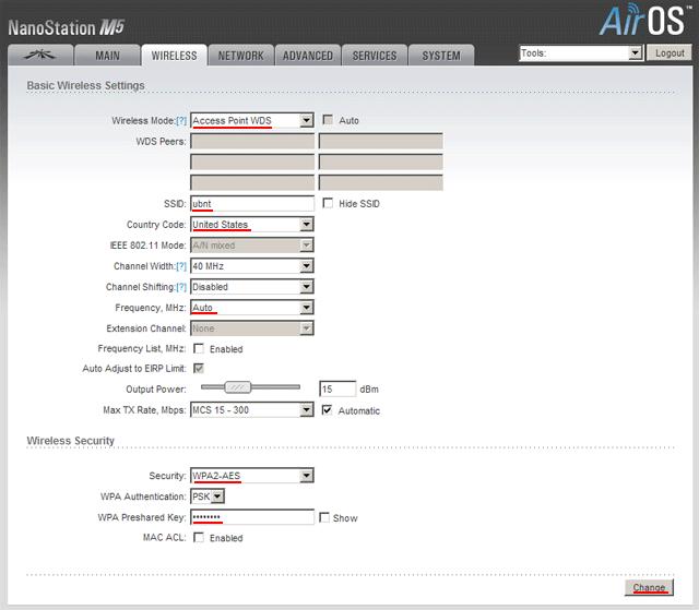Настройка точки доступа Ubiquiti в режиме Access Point WDS Ubiquiti