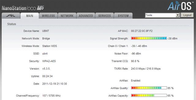 Параметры подключения к WDS точке доступа Ubiquiti