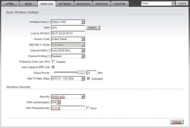 Указываем пароль для подключения к WDS точке доступа Ubiquiti